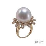 奢華17.8mm白色南洋珠鑲鉆石戒指