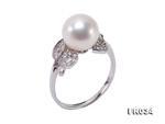 9mm天然白色圓形淡水珍珠戒指