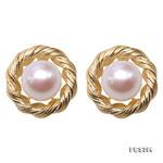 精品9mm白色圓形淡水珍珠耳環